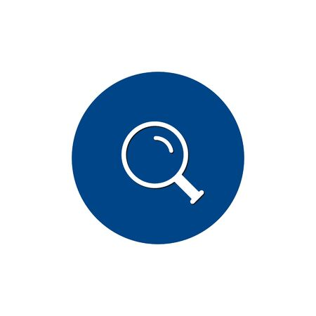 Magnifying glass icon, vector magnifier or loupe sign on circle.
