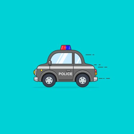 Police car side view isolated on blue background vector cartoon illustration. Ilustração