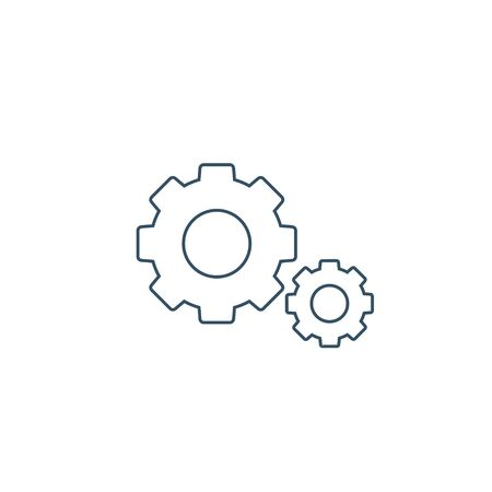 Cog Gear icon vector line sign isolated on white.