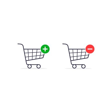 Shopping Cart, Add to chart or delete line icon set. Market, buying, sale. Shopping concept. Vector illustration. 写真素材 - 127895461