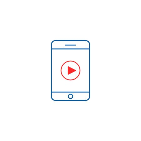 Smart Phone Video Player icon, Vector line illustration.
