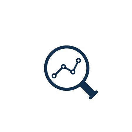 Magnifying glass with growth graph bar chart, Analytic vector icon. 写真素材 - 127895215