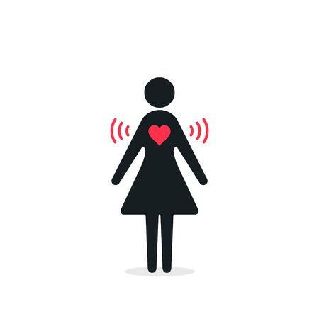 Woman with Heart wifi love icon. Vector donation concept in flat style. Heart signal. Love connection. 写真素材 - 127895217