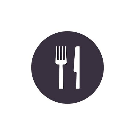 Fork and knife icon on round. Restaurant Vector flat symbol. 写真素材 - 127895218