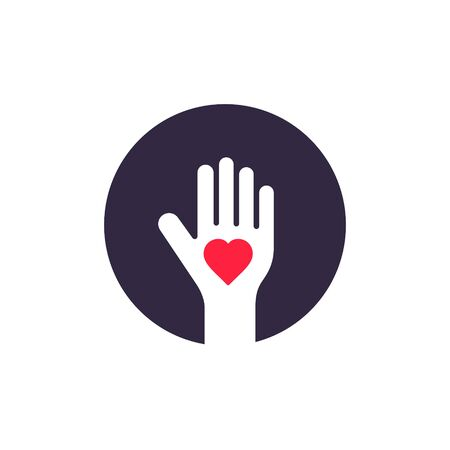 Human Palm Heart Inside Design, Vector Donate Symbol Illustration.
