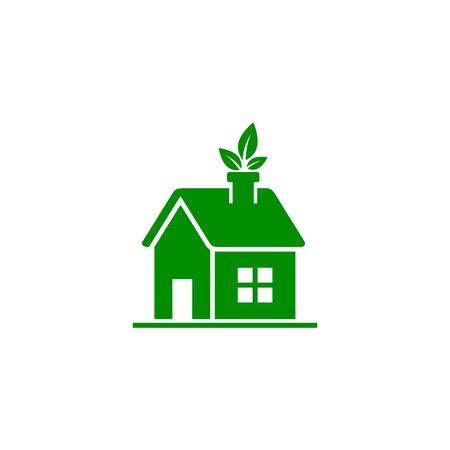 Eco house, ecology green icon on white background. Vector illustration. Stock Illustratie