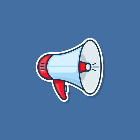 Loudspeaker icon Sticker. Megaphone sign. Announcement symbol. Vector illustration. Çizim