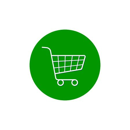 Trolley icon, Vector Supermarket pushcart sign on circle background. Stock Illustratie
