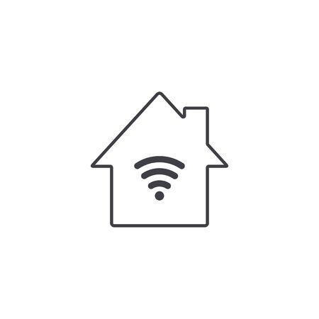 Home Wifi sign. Smart Home Wifi line symbol. Wireless Network icon. Vector illustration. Stock Illustratie