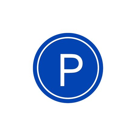 Blue Parking sign with a capital letter P Vector icon.