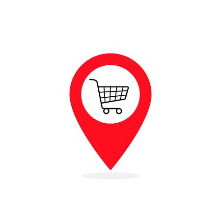 Map pointer marker with Shopping cart icon, map pin, GPS location symbol, vector illustration. 版權商用圖片 - 132122465
