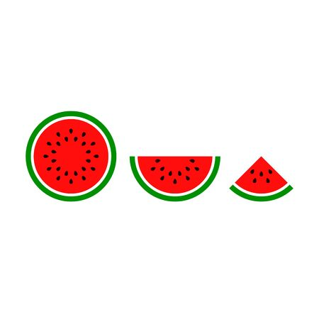 Watermelon sliced ripe icon, vector isolated melon symbol set isolated on white background. Stock Illustratie