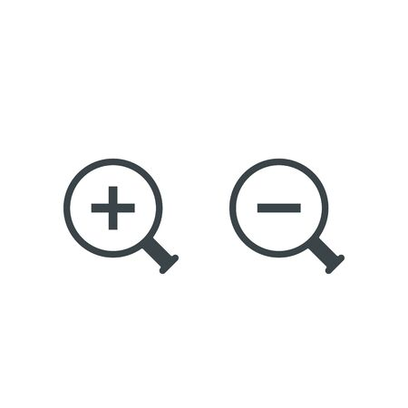 Zoom icon, magnifying glass with plus and minus sign. Vector symbol.  イラスト・ベクター素材