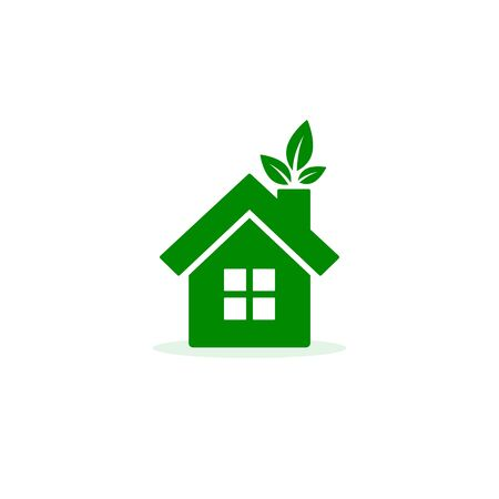 Eco home ecology green icon on white background. Vector illustration.  イラスト・ベクター素材