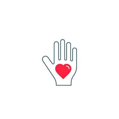 Heart on hand palm symbol line icon. Love or Donate concept.