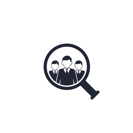 Search for employees and job, business, human resource. Looking for talent vector icon. Job search.