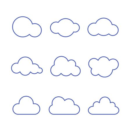 Cloud Icon Set. Vector isolated line flat illustration. Stock Illustratie