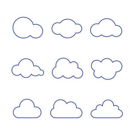 Cloud Icon Set. Vector isolated line flat illustration.  イラスト・ベクター素材
