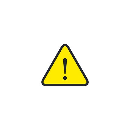Hazard warning attention sign with exclamation mark symbol. Vector icon.  イラスト・ベクター素材
