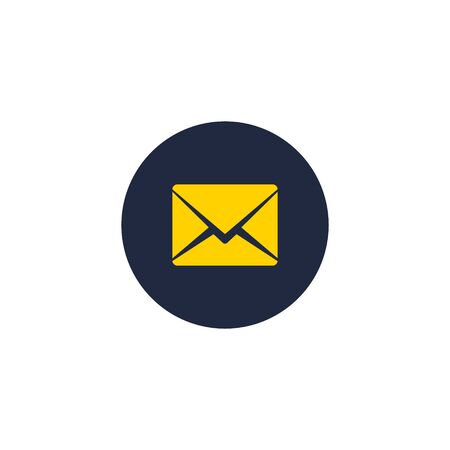 Envelope icon, Vector isolated flat Mail symbol isolated on circle.