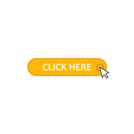 Click here web button with arrow cursor, Vector icon isolated on white.