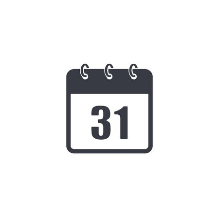Calendar vector icon 31 of December. Isolated simple illustration.