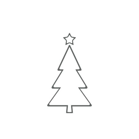Christmas tree line icon, vector flat design outline symbol isolated on white background.  イラスト・ベクター素材
