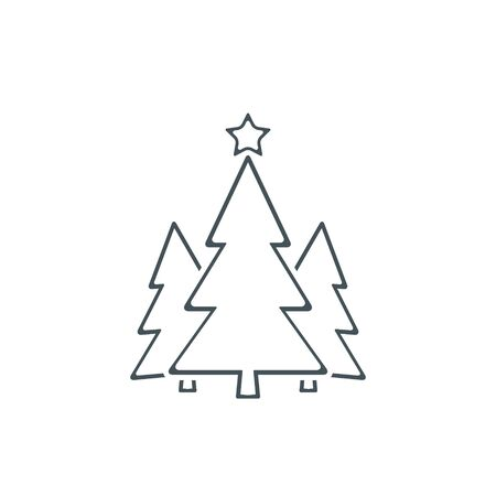 Christmas trees line icon, vector simple flat design. Black symbol of fir-tree isolated on white background.
