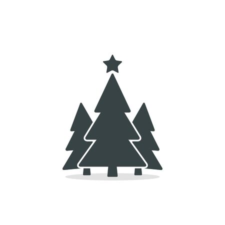 Christmas trees icon, vector simple flat design. Black symbol of fir-tree isolated on white background. Stockfoto - 132970903
