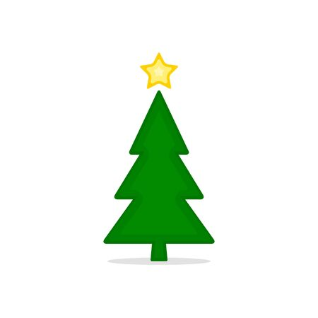 Christmas trees colored icon, vector simple flat design. Black symbol of fir-tree isolated on white background.