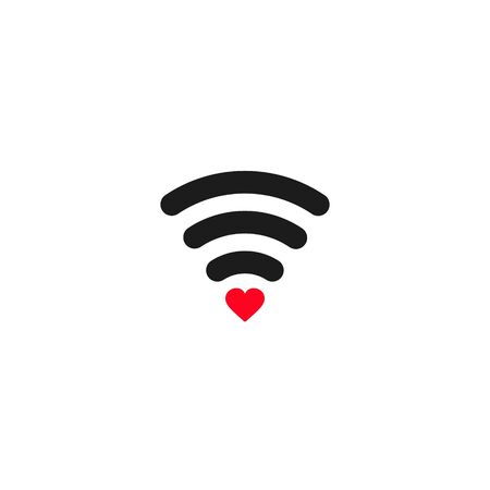 Love wifi icon, Heart shape and wifi sign. Happy valentine s day background. Vector illustration.