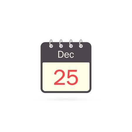 Calendar icon 25 of December Christmas Day isolatedon white background. Calendar in flat style, vector.