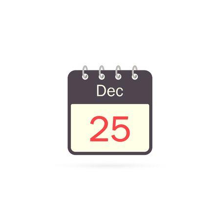 Calendar icon 25 of December Christmas Day isolatedon white background. Calendar in flat style, vector. Stockfoto - 133183133