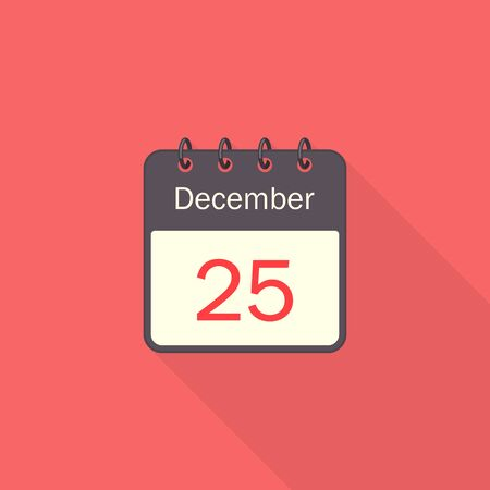 Calendar icon 25 of December Christmas Day with long shadow isolated on red background. Calendar in flat style, vector. Stock Illustratie