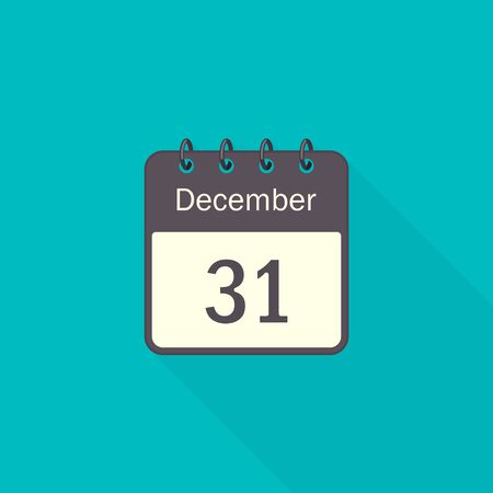 December 31 Calendar Icon, Vector Illustration in flat style with long shadow. Stockfoto - 133183123