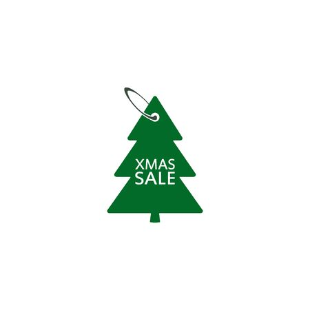 Christmas Sale discount label in the form of a Christmas tree, tag in the fir-tree shape. Vector isolated illustration.