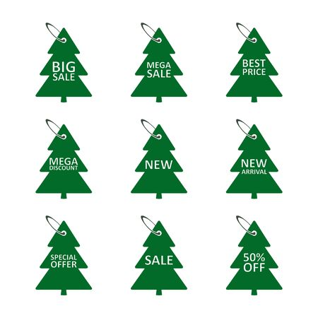 Sale discount label in the form of a Christmas tree, tag set in the fir-tree shape. Vector isolated illustration. Stock Illustratie