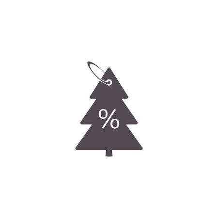 Christmas Sale discount label in the form of a Christmas tree with percentage, tag in the fir-tree shape. vector percent sale label symbol flat icon.  イラスト・ベクター素材