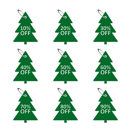 Sale discount label in the form of a Christmas tree with percentage, tag set in the fir-tree shape., Sale tags, vector badge icons, percent sale label symbols flat icon. Stockfoto - 133610069