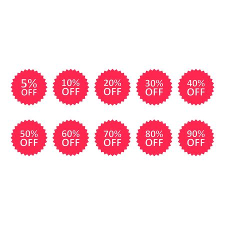 Discount percentage stickers or label set, Sale tags, vector badge icons, percent sale label symbols flat icon. Stockfoto - 133610068