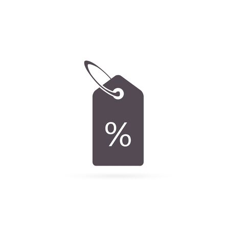 Price tag Vector icon, sale discount label with percent symbol isolated on white background.