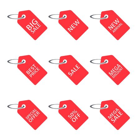 Sale discount label, tag set. Different commercial inscriptions in badges. Vector isolated illustration. Stockfoto - 133610080