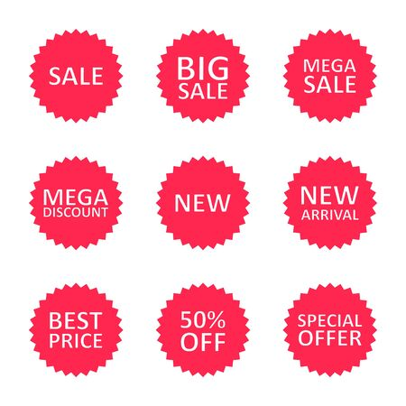 Sale discount label, tag or sticker set. Different commercial inscriptions in badges. Vector isolated illustration.