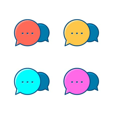 Speech Bubbles Icon set, Vector isolated flat design color illustration.  イラスト・ベクター素材