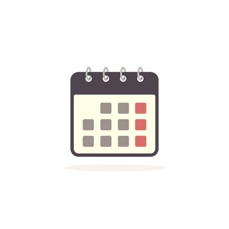 Calendar vector icon isolated on white background.