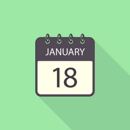 Calendar flat icon with long shadow. Vector isolated flat design illustration.