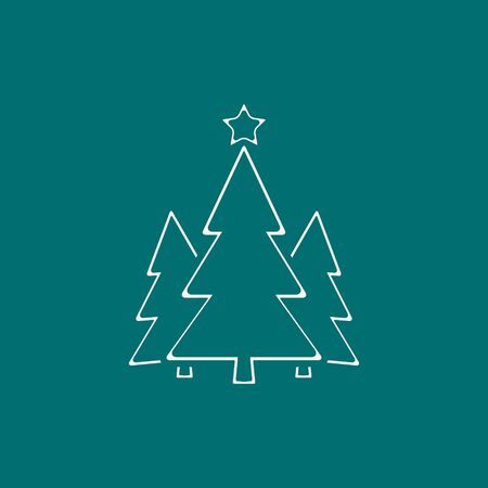 Christmas Tree Line Icon On Green Background. Vector illustration.
