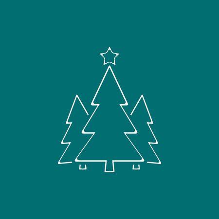 Christmas Tree Line Icon On Green Background. Vector illustration. Stockfoto - 133610081
