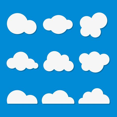 Clouds icon set Vector illustration, flat design clouds collection.