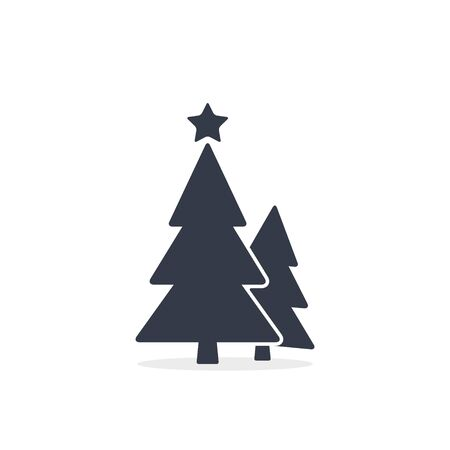 Christmas trees icon, vector simple design. Black symbol of two fir-tree isolated on white background. Stockfoto - 133610084
